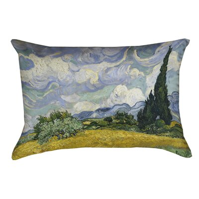 Woodlawn Wheatfield with Cypresses Linen Lumbar Pillow Color: Yellow