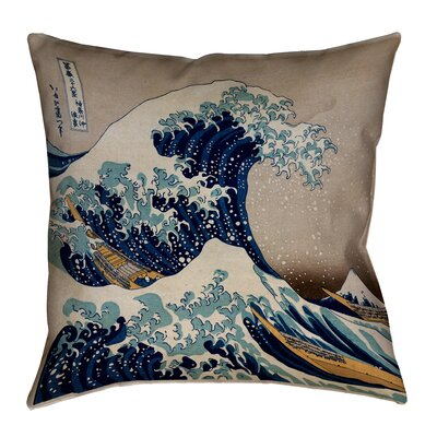 Raritan The Great Wave Square Outdoor Waterproof Throw Pillow Color: Brown/Blue, Size: 18 x 18