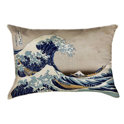 Raritan The Great Wave Rectangular Pillow Cover Color: Teal/Gray