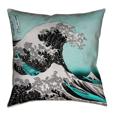 Raritan The Great Wave Indoor Throw Pillow Color: Teal, Size: 36 x 36