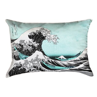 Raritan The Great Wave Linen Pillow Cover Color: Teal