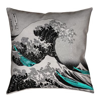 Raritan The Great Wave Square Outdoor Waterproof Throw Pillow Color: Gray/Teal, Size: 16 x 16