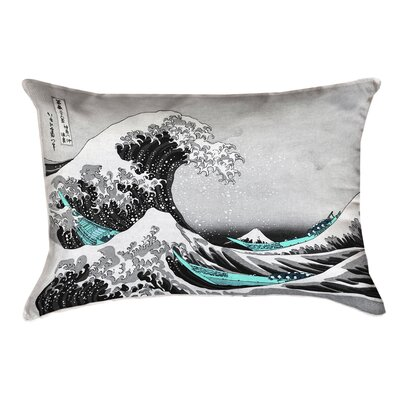 Raritan The Great Wave Linen Lumbar Pillow Color: Teal/Gray