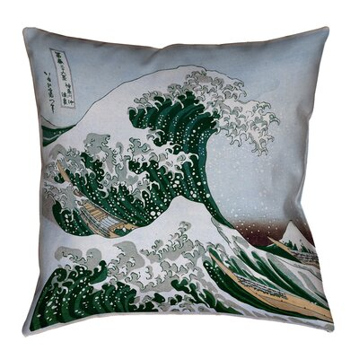 Raritan The Great Wave Square Outdoor Waterproof Throw Pillow Size: 18 x 18, Color: Green/Blue