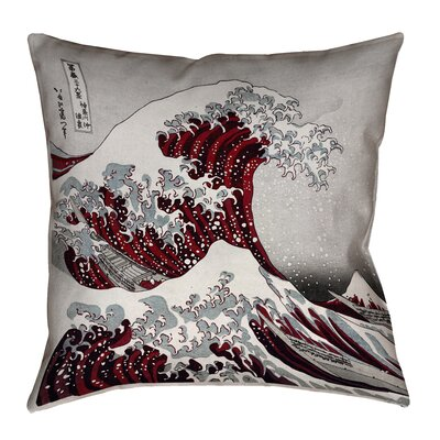 Raritan The Great Wave Square Outdoor Waterproof Throw Pillow Color: Red, Size: 20 x 20