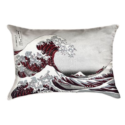 Raritan The Great Wave Cotton Pillow Cover Color: Red