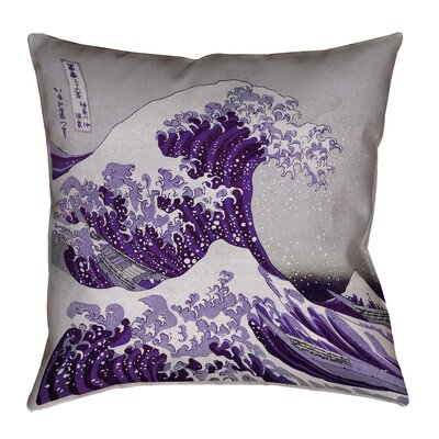 Raritan The Great Wave Square Outdoor Waterproof Throw Pillow Color: Purple, Size: 18 x 18