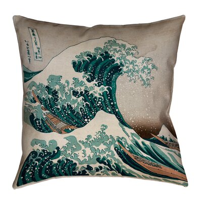 Raritan The Great Wave Square Outdoor Throw Pillow Color: Blue/Red, Size: 16 x 16
