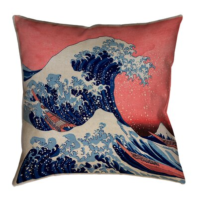 Raritan The Great Wave Indoor Throw Pillow Size: 40 x 40, Color: Red/Blue
