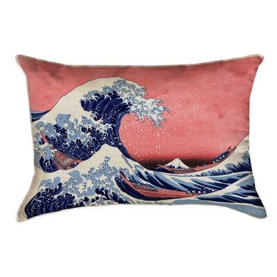Raritan The Great Wave Leather Lumbar Pillow Color: Blue/Red