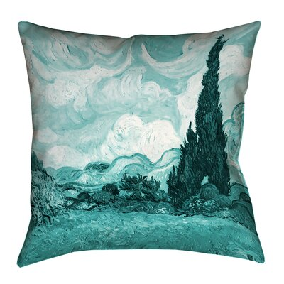 Woodlawn Teal Wheatfield with Cypresses Outdoor Throw Pillow Size: 14