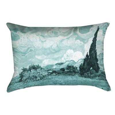 Woodlawn Wheatfield with Cypresses Linen Lumbar Pillow Color: Teal
