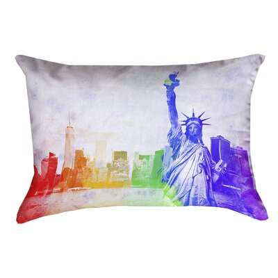 Houck Watercolor Statue of Liberty Double Sided Print Lumbar Pillow Size: 14 x 20