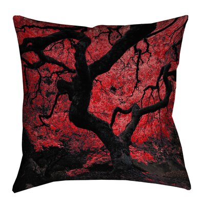 Ghost Train Japanese Maple Tree Square Throw Pillow Size: 14 x 14, Color: Red