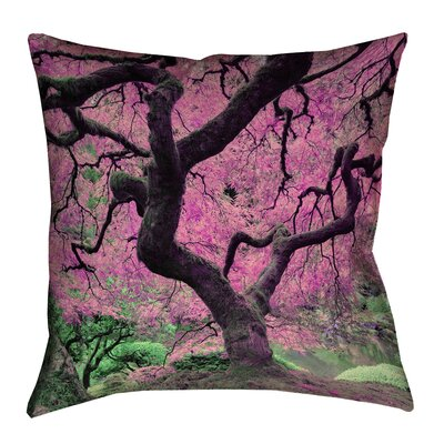 Ghost Train Japanese Maple Tree Square Throw Pillow Color: Pink, Size: 18 x 18