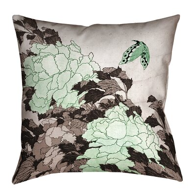 Clair Peonies and Butterfly Square Suede Pillow Cover Size: 14 H x 14 W, Color: Green