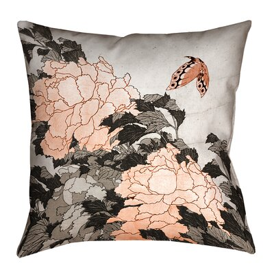 Clair Peonies and Butterfly Square Suede Pillow Cover Size: 20 H x 20 W, Color: Orange