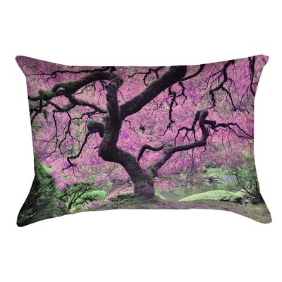 Ghost Train Japanese Maple Tree Double Sided Print Zipper Lumbar Pillow Color: Pink