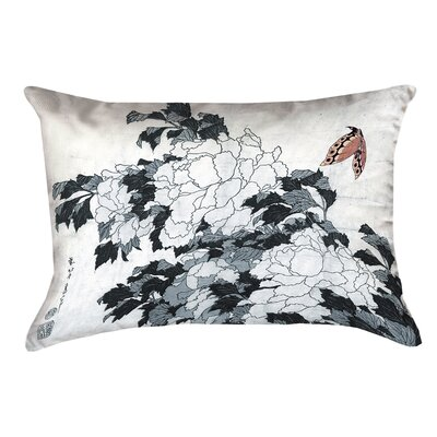 Clair Peonies with Butterfly Indoor Rectangular Lumbar Pillow Color: Peach/Gray