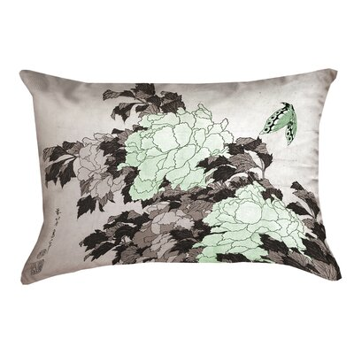 Clair Peonies with Butterfly Outdoor Lumbar Pillow Color: Green