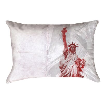 Houck Watercolor Statue of Liberty Waterproof Rectangular Outdoor Lumbar Pillow