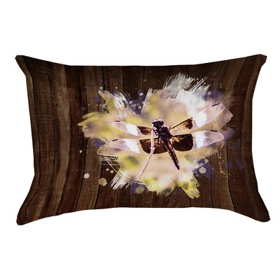 Hansard Watercolor Dragonfly Linen Lumbar Pillow