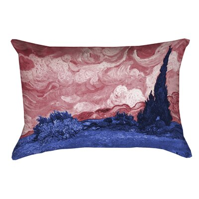 Bristol Woods Wheatfield with Cypresses Lumbar Pillow Color: Red/Blue, Size: 14 x 20