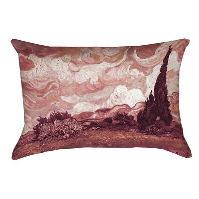 Lapine Wheatfield with Cypresses Indoor Rectangular Pillow Cover Color: Red