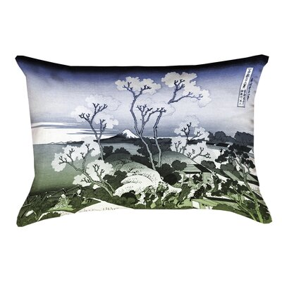 Clair Japanese Cherry Trees Linen Pillow Cover Color: Blue/Green