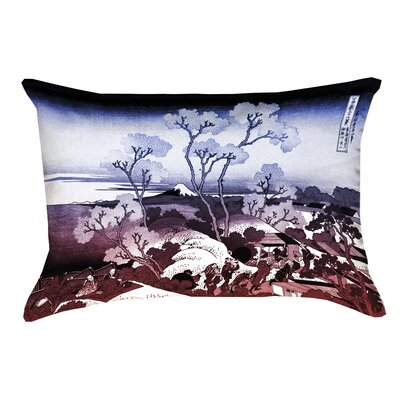 Clair Japanese Cherry Trees Linen Pillow Cover Color: Blue/Red