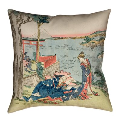 Enya Japanese Courtesan Linen Throw Pillow Size: 18 x 18