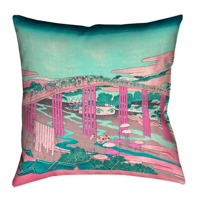 Enya Japanese Bridge Waterproof Throw Pillow Size: 16 x 16, Color: Pink/Teal