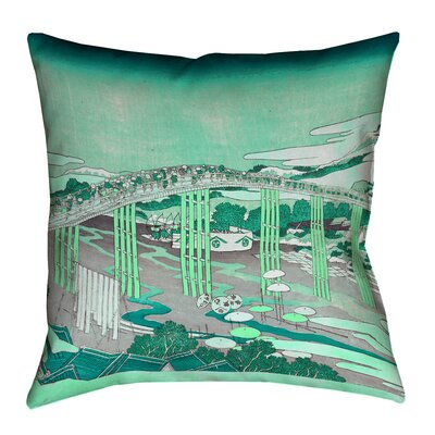 Enya Japanese Bridge Waterproof Throw Pillow Color: Green, Size: 18 x 18