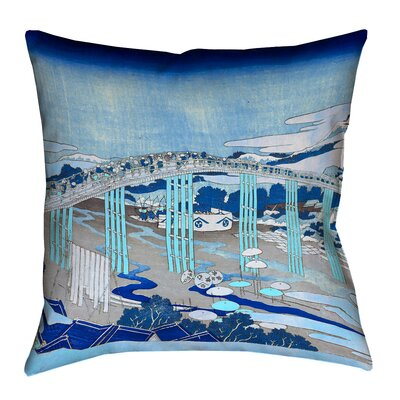 Enya Japanese Bridge Outdoor Throw Pillow Color: Blue, Size: 16 x 16
