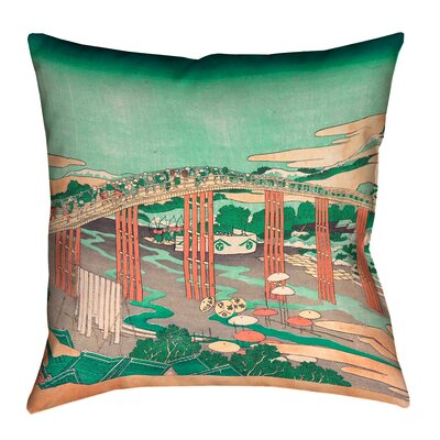 Enya Japanese Bridge Linen Throw Pillow Size: 14 x 14, Color: Green/Peach
