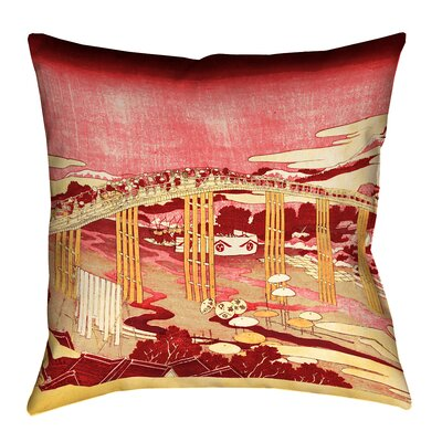 Enya Japanese Bridge Square Pillow Cover Size: 16 x 16, Color: Red/Orange
