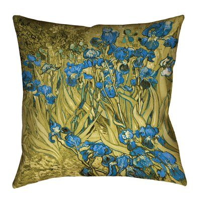Bristol Woods Irises Pillow Cover Size: 18 x 18, Color: Yellow/Blue