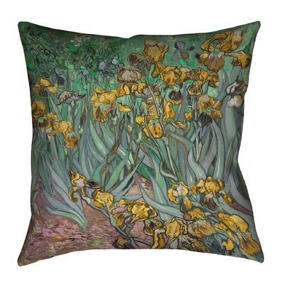 Bristol Woods Irises Outdoor Throw Pillow Color: Yellow, Size: 18 x 18