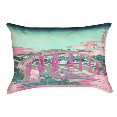 Enya Japanese Bridge Rectangular Lumbar Pillow Color: Pink/Teal, Size: 14 x 20