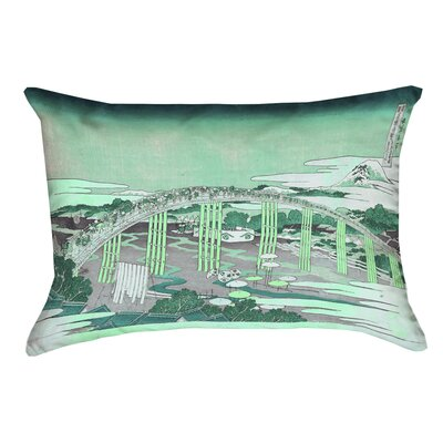 Enya Japanese Bridge Rectangular Lumbar Pillow Color: Green, Size: 10 x 14