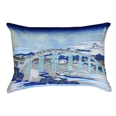 Enya Japanese Bridge Rectangular Lumbar Pillow Color: Blue, Size: 10 x 14