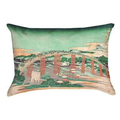 Enya Japanese Bridge Linen Lumbar Pillow Color: Green/Peach