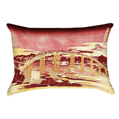 Enya Japanese Bridge Rectangular Lumbar Pillow Color: Red/Orange, Size: 14 x 20
