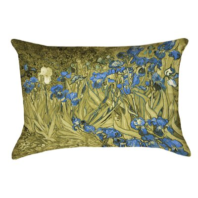 Bristol Woods Irises Lumbar Pillow Color: Yellow/Blue, Size: 10 x 14