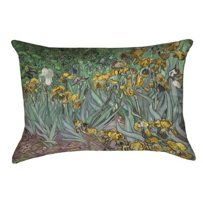 Bristol Woods Irises Lumbar Pillow Color: Yellow, Size: 10 x 14