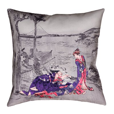 Enya Japanese Double Sided Print Courtesan Throw Pillow with Insert Size: 26 x 26, Color: Indigo