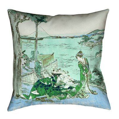 Enya Japanese Courtesan Cotton Throw Pillow Size: 16 x 16, Color: Green/Blue