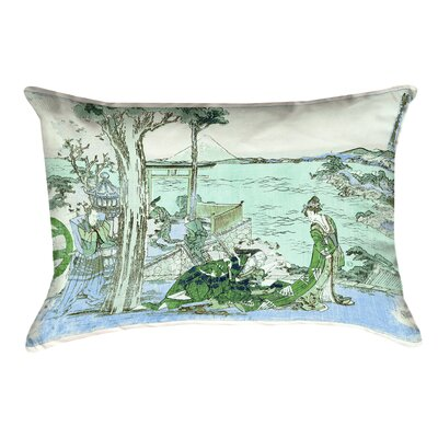 Enya Japanese Courtesan Cotton Lumbar Pillow Color: Green/Blue
