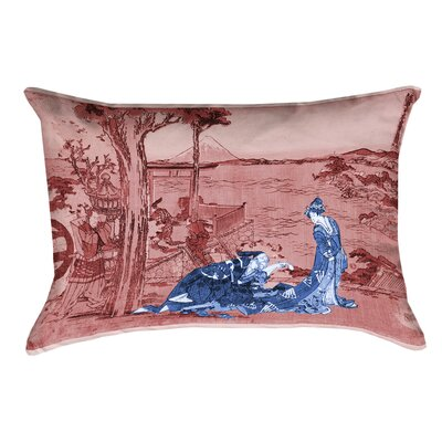 Enya Japanese Courtesan Cotton Pillow Cover Color: Blue/Red