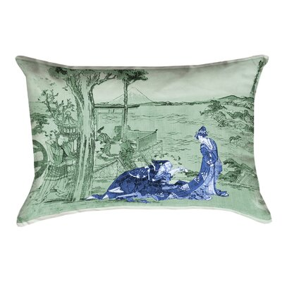 Enya Japanese Courtesan Cotton Pillow Cover Color: Blue/Green